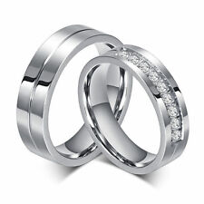 CZ Titanium Steel Lover's Wedding Promise Band Engagement Couple Rings Size 5-12