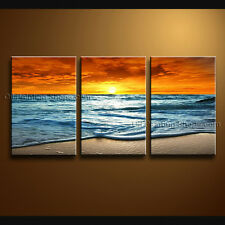 Stunning Contemporary Wall Art Seascape Painting Beach Inner Framed