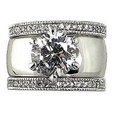 Wide Solitaire Round-shape 4.28 Ct. Cubic Zirconia Cz Bridal Wedding 3 Pc. Ring