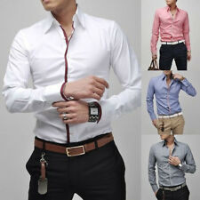 Mens Luxury Casual Stylish Slim Fit Long Sleeve Casual Dress Shirts Hot The New