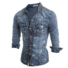Mens Button Down Casual Shirts Wash Slim Fit Long Sleeve Stars Printed Casual w0