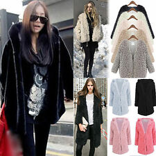 Women Winter Thick Fleece Warm Faux Fur Long Hooded Coat Parka Overcoat Jacket