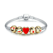 Emoji Charm Bracelet 18K Yellow Gold Plated Beads-5 Charms