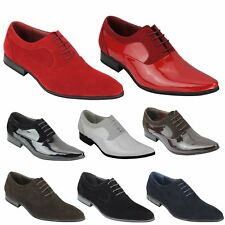 Mens Suede & Patent Shiny Leather Line Formal Oxford Lace up Italian Style Shoes