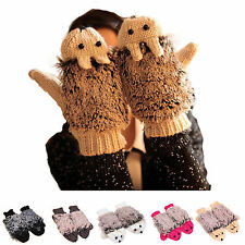 Fashion Women's fur Knitted Fingerless Winter Gloves Unisex Soft Warm Mittens w4