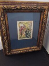 MARC CHAGALL PAGE FROM BOOK IN A VINTAGE WOOD FRAME