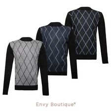 MENS DIAMOND JACQUARD KNITTED SWEATER VINTAGE RETRO KNIT PULLOVER JUMPER