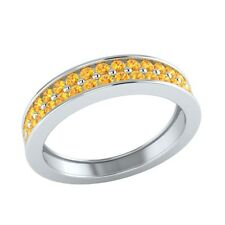 0.55 ct Natural Round Yellow Citrine Solid Gold Half Eternity Wedding Band Ring