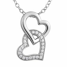 New Fashion 925 Sterling Silver CZ Unique Double Heart Necklace Pendant Jewelry