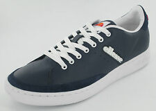ELLESSE NAVY LEATHER  LACE UP CASUAL TRAINERS PLIMSOLLS - ALASSIO