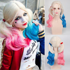 Suicide Squad Harley Quinn Curly Wig Dyeing Gradient Hair Cosplay Costume Xmas
