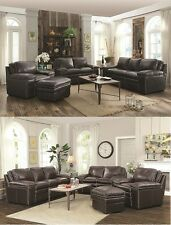 Leather Match Upholstery Charcoal/Brown 2 Piece Sofa Set Sofa & Loveseat Couches