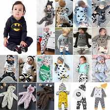Baby Kids Playsuit Romper Sleepwear Nightwear Tops+Pants Pajama PJ's Clothes Set