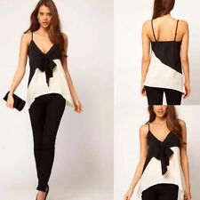 Halter top Asymmetrical Chest Top Black Bow Topdown Black And White Hit color
