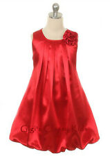 New Flower Girls Red Fancy Dress Sizes 2-14 Party Easter Christmas Pageant 242