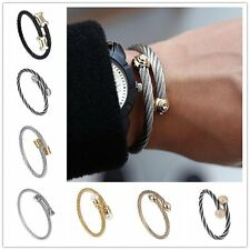 1PC Women Men Stainless Steel Twist Wire Bangle Cuff Open Bracelet Wristband Hot
