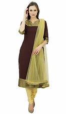 Atasi Women's Georgette Straight Kurta Kurti With Dupatta Salwar Kameez Indian