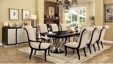 Contemporary 9pc Dining Room Set Scrolled Chair Back Double Pedestal Base Table
