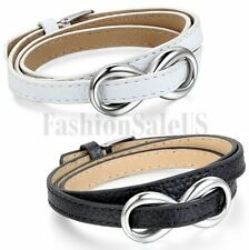 Women's Leather Bracelet Stainless Love Infinity Twining Multilayer Bangle Cuff