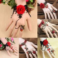 Women Girl Retro Lace Rose Flower Bangle Chain Ring Bracelet Party Jewelry Gift