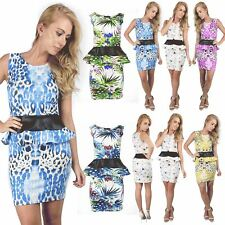 Womens Ladies Sleeveless PVC Peplum Frill Printed Bodycon Mini Dress Plus Size