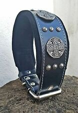 """Bestia """"Maximus"""" leather dog collar. M to XXL. Large breeds only. 2.5 `` wide"""