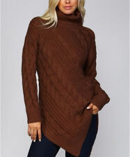 S/M M/L Listicle Boutique Chunky Cable Knit Turtleneck Sweater Top - Chocolate