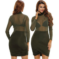 Women High Neck Long Sleeves Ruched Asymmetric Dress Sleeve Stage Dance Cute
