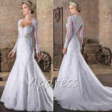 Mermaid White Wedding Dresses Long Sleeve Lace Appliques Bridal Gowns Custom New
