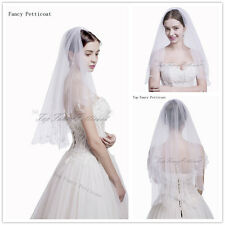 Lady Short White 1T Bridal Veil Elbow Bridal  Beaded Adge Party Veils with Comb
