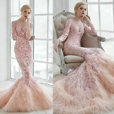 Mermaid Pink Wedding Dresses Long Sleeve Lace Appliques Feathers Scoop Neck New