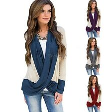 Women Casual Cowl Neck Long Sleeve Patchwork Cross Front Blouse T-Shirts CO99