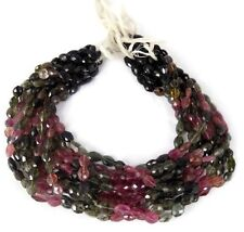 "1 Strand Multi Tourmaline Gemstone Faceted Oval Rondelle Beads 6x8 mm 13.5"" Long"