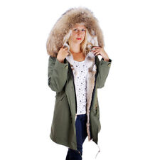 Long Women's Parka With Raccoon Fur Hood Trim! Jacket Coat Real Rabbit Fur FOX