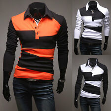 Men's Luxury Button Front Long Sleeve Slim Fit Casual Polo Shirt T-Shirt w9