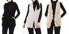 New Womens Ladies Plain Soft Faux Fur Sleeveless Gilet Bodywarmer Waistcoat