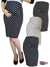 PREGNANCY DOT STRETCH PENCIL BODYCON MIDI SKIRT OVER BUMP UK MADE