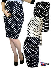 PREGNANCY DOT PENCIL BODYCON MIDI SKIRT OVER BUMP 100% UK MADE