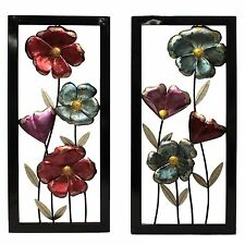 Hand Painted Art Set of 2 Multi-Color Metal Garden Flowers Framed Wall Decor New