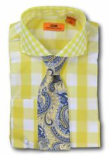 Dress Shirt Steven Land - Spread Collar  French Cuff-Yellow-DC50-YE