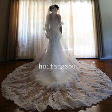 Free Shipping Ivory/White Long Wedding Veils 2T Appliques Lace Edge Bridal Veil