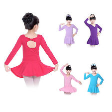 Girls Gymnastic Ballet Dance Dress Skirt Leotards Unitards Kid Dancewear Costume
