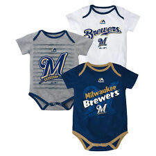 MLB Milwaukee Brewers Bodysuits Onesies Creepers baby infant **3 pack**