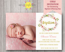 Printable Girls Christening / Naming Day Invitation Floral, Feathers Gold Faux