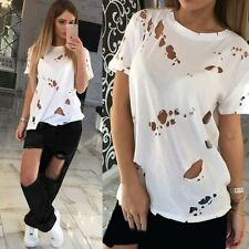 Women Girl Casual Hole T-shirts Ripped Distressed Tees Short Sleeve Shirt Tops