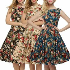 Sexy Women's Vintage Style Floral 1950s Rockabilly Evening Party Swing Tea Dress