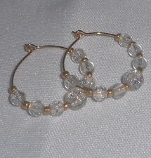 Czech Crackle Art Glass Crystal Gold Tone Plated Hoop Earrings   8 colors