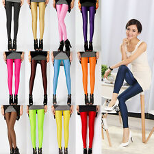 Women Neon Leggings Shiny Bright Fluorescent Glow Stretch Pants Skinny Trousers