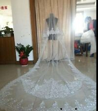 2016 2T 3M Cathedral Wedding Sequins White/Ivory Applique Bridal Veil Free Comb