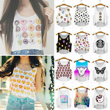 Women Sleeveless Vest Tank Top Cartoon Summer Beach Casual Pullover Blouse Shirt